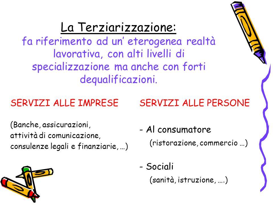 La Terziarizzazione: fa riferimento ad un eterogenea realtà lavorativa, con alti livelli di specializzazione ma anche con forti dequalificazioni. SERV