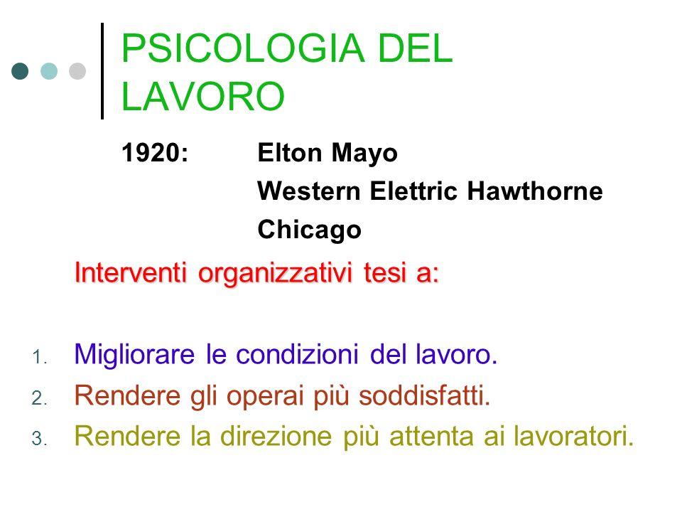 PSICOLOGIA DEL LAVORO 1920:Elton Mayo Western Elettric Hawthorne Chicago Interventi organizzativi tesi a: 1. Migliorare le condizioni del lavoro. 2. R