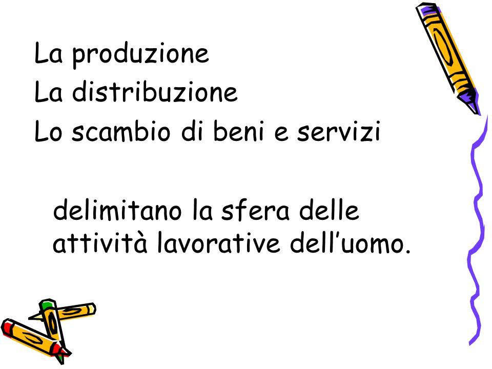 La produzione La distribuzione Lo scambio di beni e servizi delimitano la sfera delle attività lavorative delluomo.