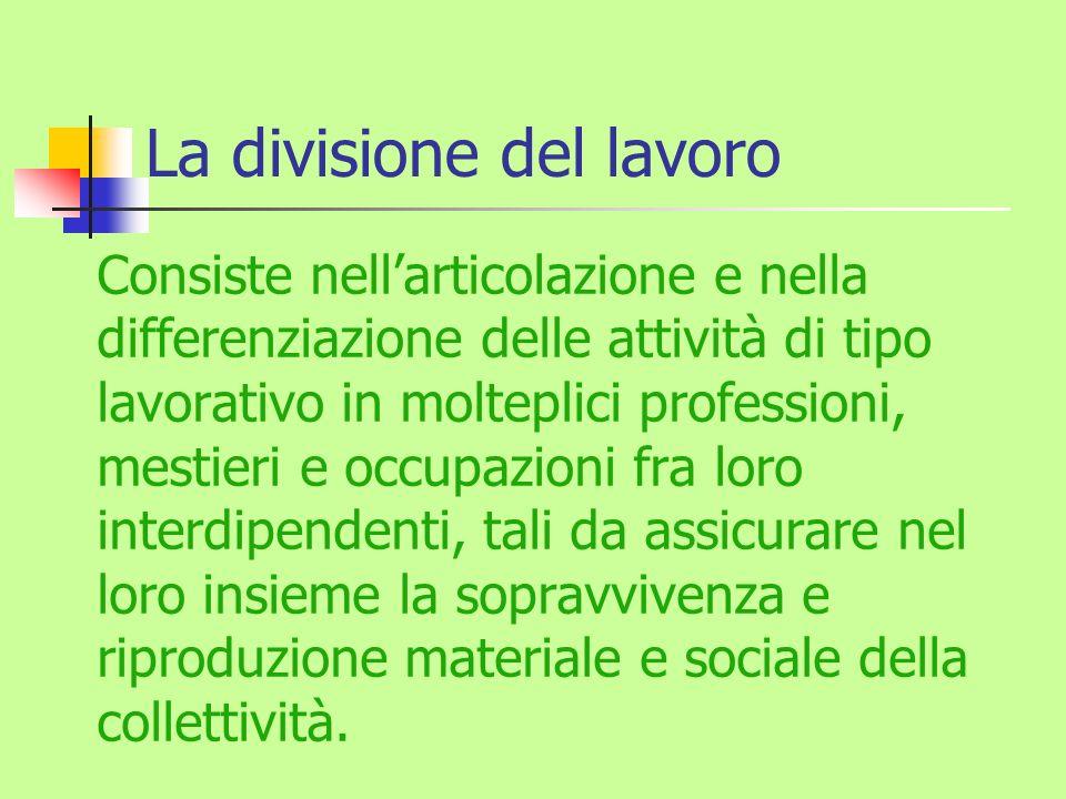 La divisione del lavoro Consiste nellarticolazione e nella differenziazione delle attività di tipo lavorativo in molteplici professioni, mestieri e oc