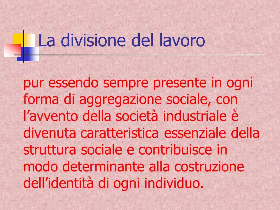 La divisione del lavoro pur essendo sempre presente in ogni forma di aggregazione sociale, con lavvento della società industriale è divenuta caratteri