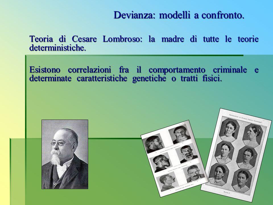 Teoria di Cesare Lombroso: la madre di tutte le teorie deterministiche. Esistono correlazioni fra il comportamento criminale e determinate caratterist
