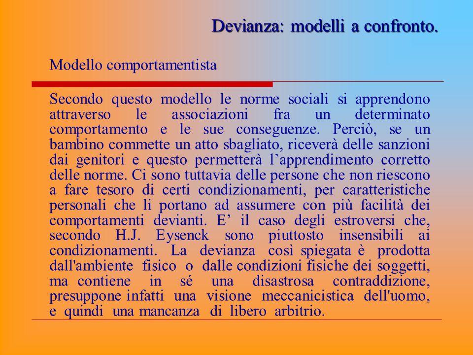 Modello comportamentista Secondo questo modello le norme sociali si apprendono attraverso le associazioni fra un determinato comportamento e le sue co