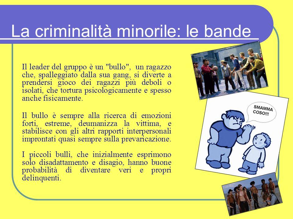 La criminalità minorile: le bande Il leader del gruppo è un