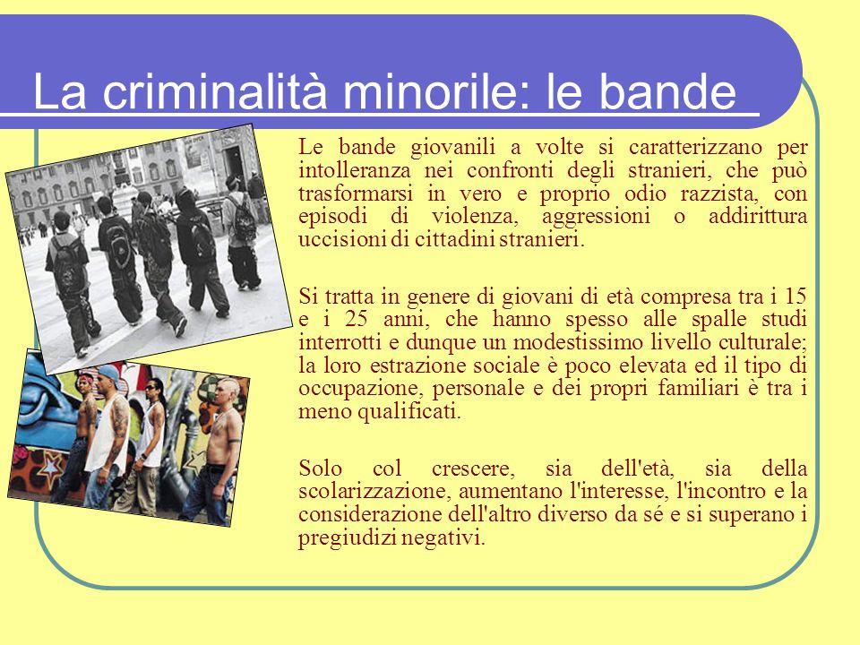 La criminalità minorile: le bande Le bande giovanili a volte si caratterizzano per intolleranza nei confronti degli stranieri, che può trasformarsi in