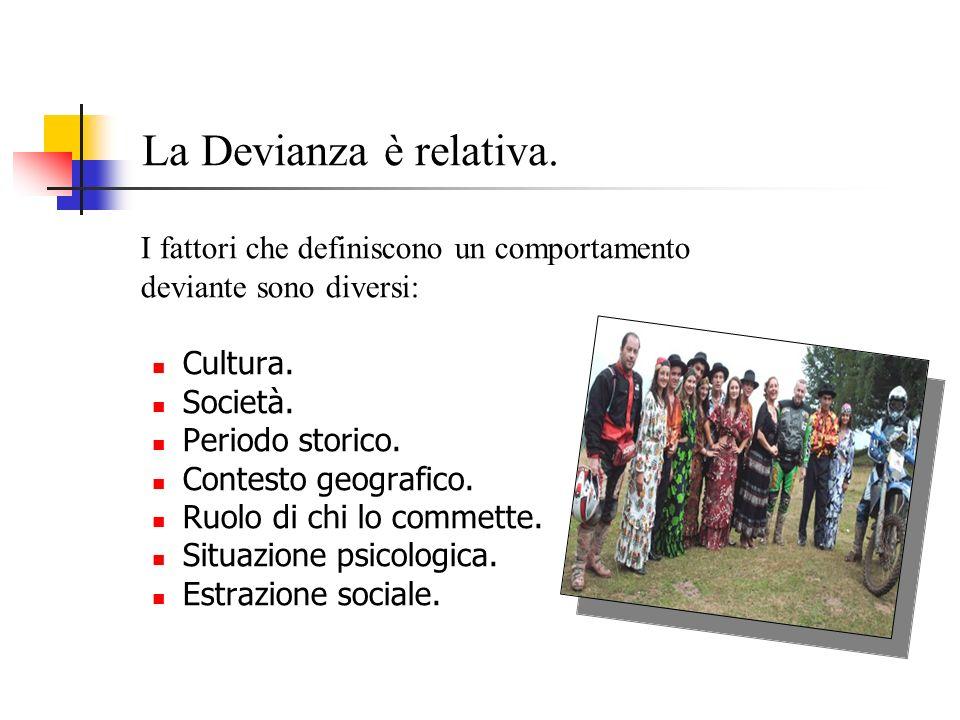 La Devianza è relativa. I fattori che definiscono un comportamento deviante sono diversi: Cultura. Società. Periodo storico. Contesto geografico. Ruol