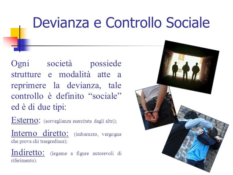 Devianza e Controllo Sociale Ogni società possiede strutture e modalità atte a reprimere la devianza, tale controllo è definito sociale ed è di due ti