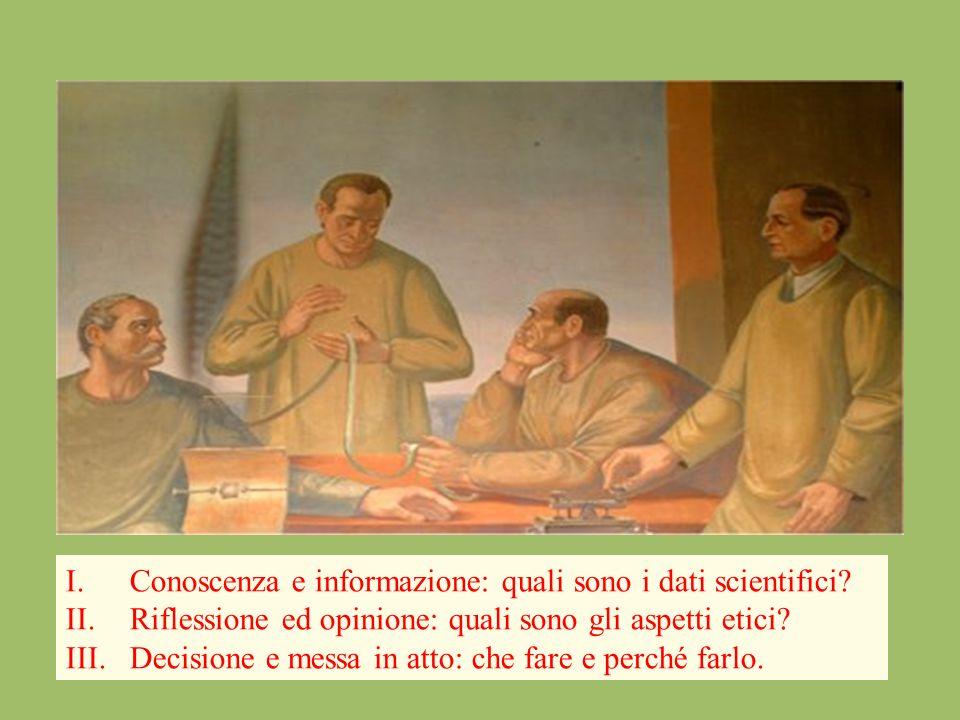 I.Conoscenza e informazione: quali sono i dati scientifici? II.Riflessione ed opinione: quali sono gli aspetti etici? III.Decisione e messa in atto: c