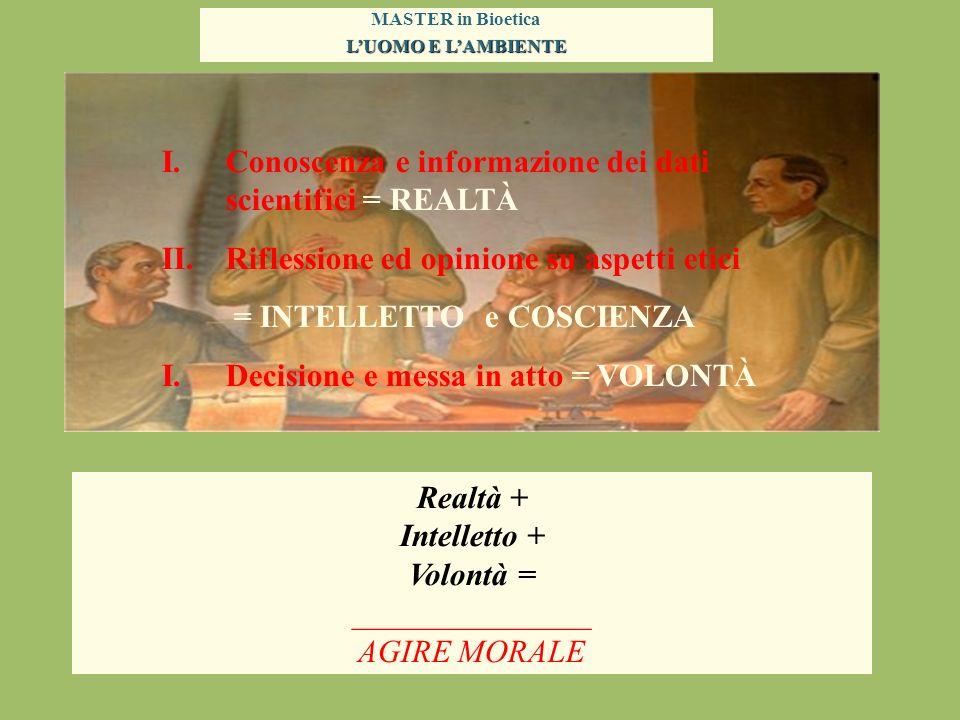 MASTER in Bioetica LUOMO E LAMBIENTE I.Conoscenza e informazione dei dati scientifici = REALTÀ II.Riflessione ed opinione su aspetti etici = INTELLETT