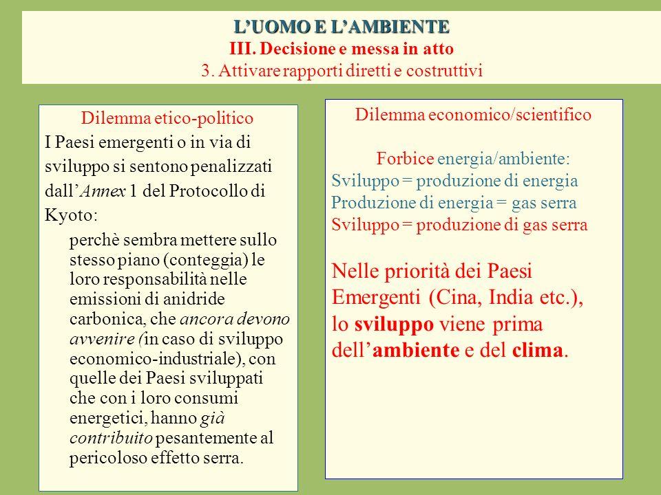 Dilemma etico-politico I Paesi emergenti o in via di sviluppo si sentono penalizzati dallAnnex 1 del Protocollo di Kyoto: perchè sembra mettere sullo