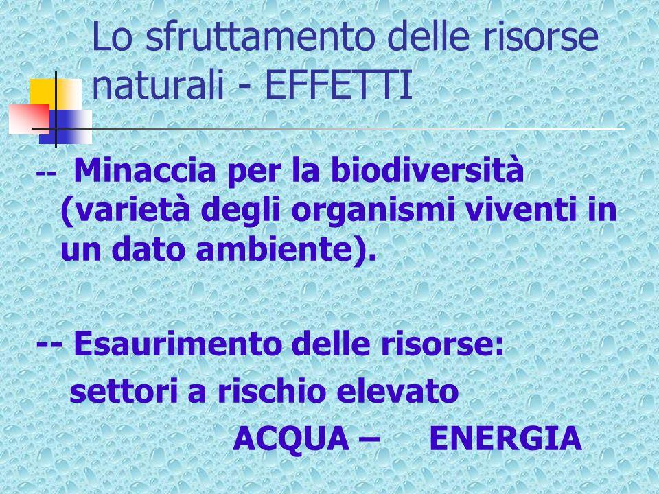 Lo sfruttamento delle risorse naturali - EFFETTI -- Minaccia per la biodiversità (varietà degli organismi viventi in un dato ambiente). -- Esaurimento
