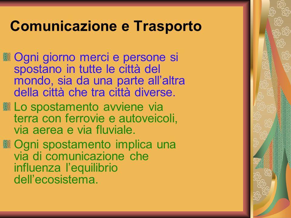 Comunicazione e Trasporto Ogni giorno merci e persone si spostano in tutte le città del mondo, sia da una parte allaltra della città che tra città div