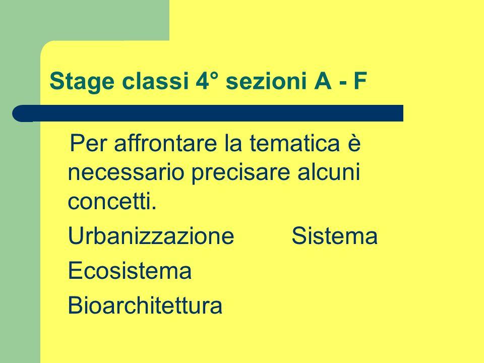 Stage classi 4° sezioni A - F Per affrontare la tematica è necessario precisare alcuni concetti. UrbanizzazioneSistema Ecosistema Bioarchitettura