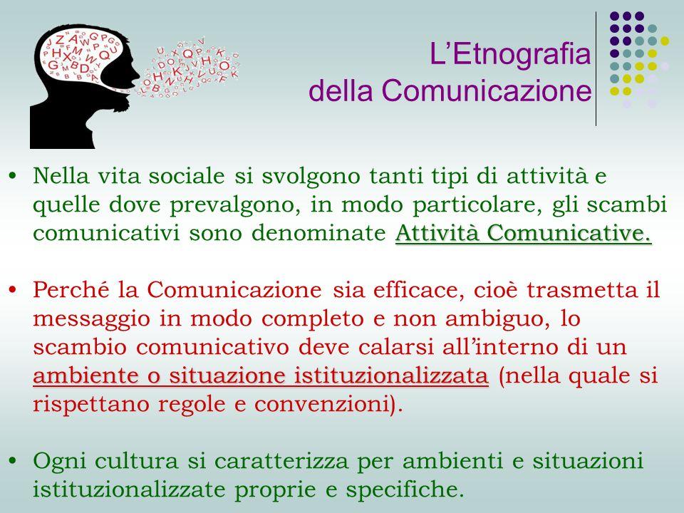 Attività Comunicative.Nella vita sociale si svolgono tanti tipi di attività e quelle dove prevalgono, in modo particolare, gli scambi comunicativi sono denominate Attività Comunicative.