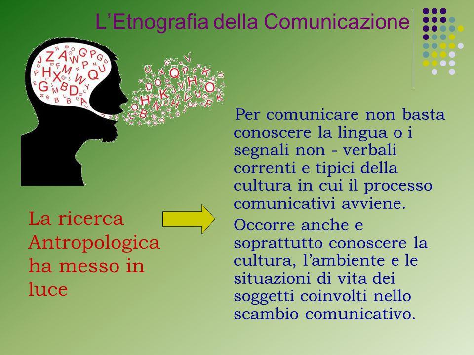 Per comunicare non basta conoscere la lingua o i segnali non - verbali correnti e tipici della cultura in cui il processo comunicativi avviene.