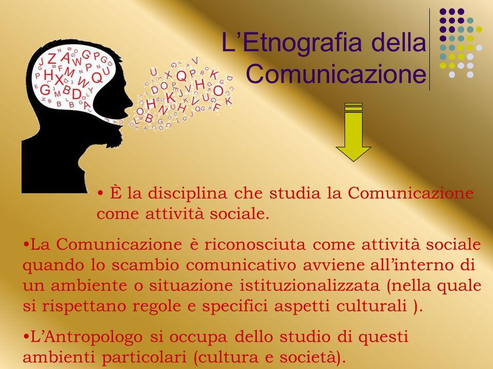 È la disciplina che studia la Comunicazione come attività sociale.