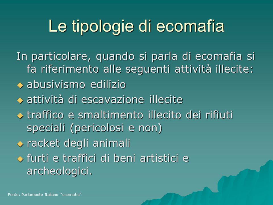 Le tipologie di ecomafia In particolare, quando si parla di ecomafia si fa riferimento alle seguenti attività illecite: abusivismo edilizio abusivismo