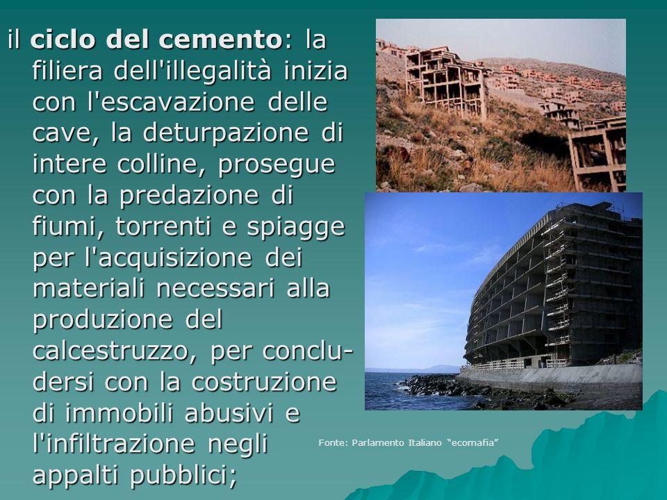 il ciclo del cemento: la filiera dell'illegalità inizia con l'escavazione delle cave, la deturpazione di intere colline, prosegue con la predazione di