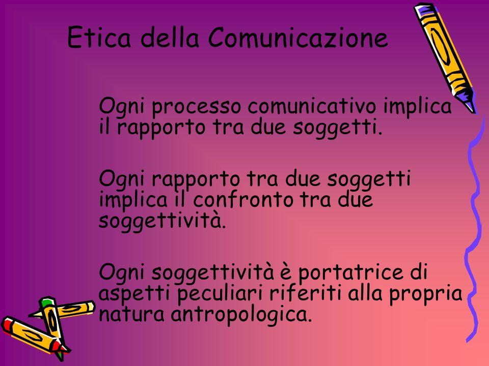 Etica della Comunicazione Lessere persona dellemittente e del ricevente, chiama in causa una profonda riflessione in merito allagire comunicativo.