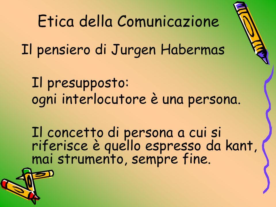Etica della Comunicazione Se la comunicazione avviene tra due persone, entrambe sono chiamate a riconoscersi reciprocamente portatrici di uguali diritti e doveri Prima ancora di qualsiasi intenzione argomentativa, occorre presupporre una reciproca responsabilità.