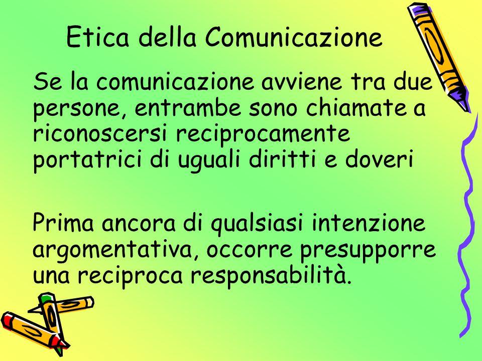 Etica della Comunicazione In cosa consiste la reciproca responsabilità .