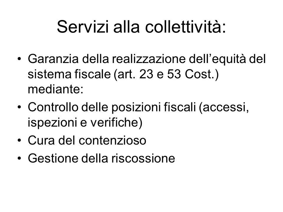 Servizi alla collettività: Garanzia della realizzazione dellequità del sistema fiscale (art.