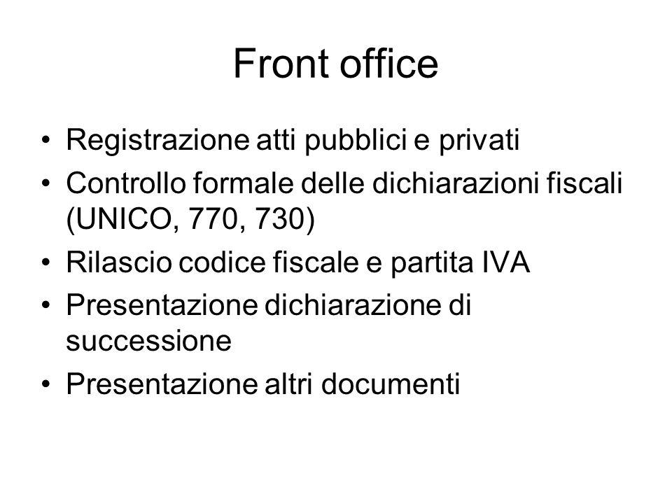 Front office Registrazione atti pubblici e privati Controllo formale delle dichiarazioni fiscali (UNICO, 770, 730) Rilascio codice fiscale e partita IVA Presentazione dichiarazione di successione Presentazione altri documenti