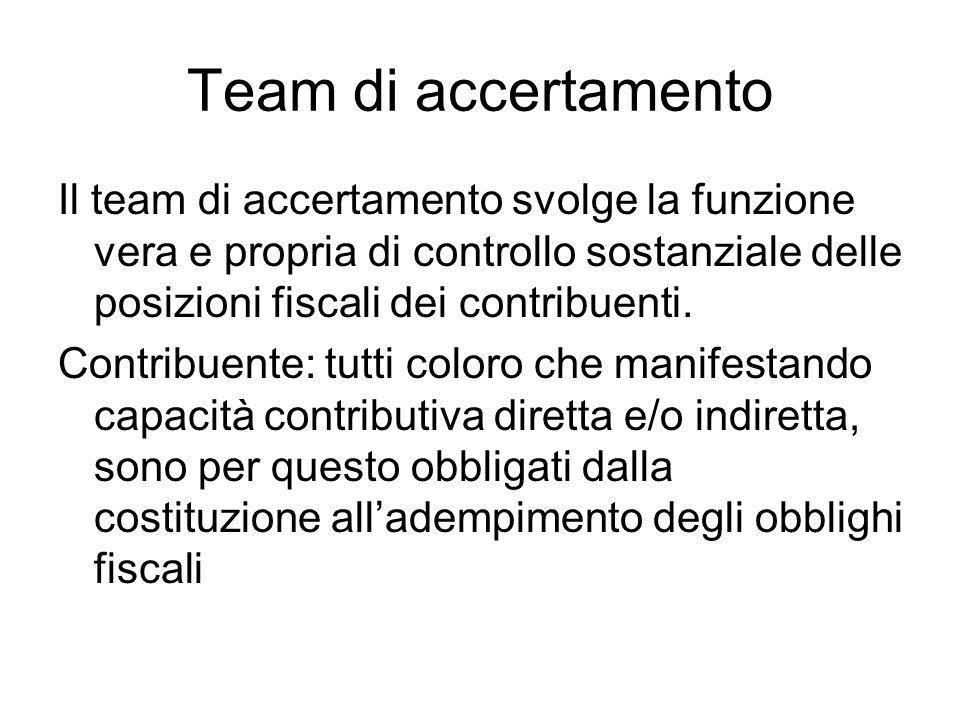 Team di accertamento Il team di accertamento svolge la funzione vera e propria di controllo sostanziale delle posizioni fiscali dei contribuenti.