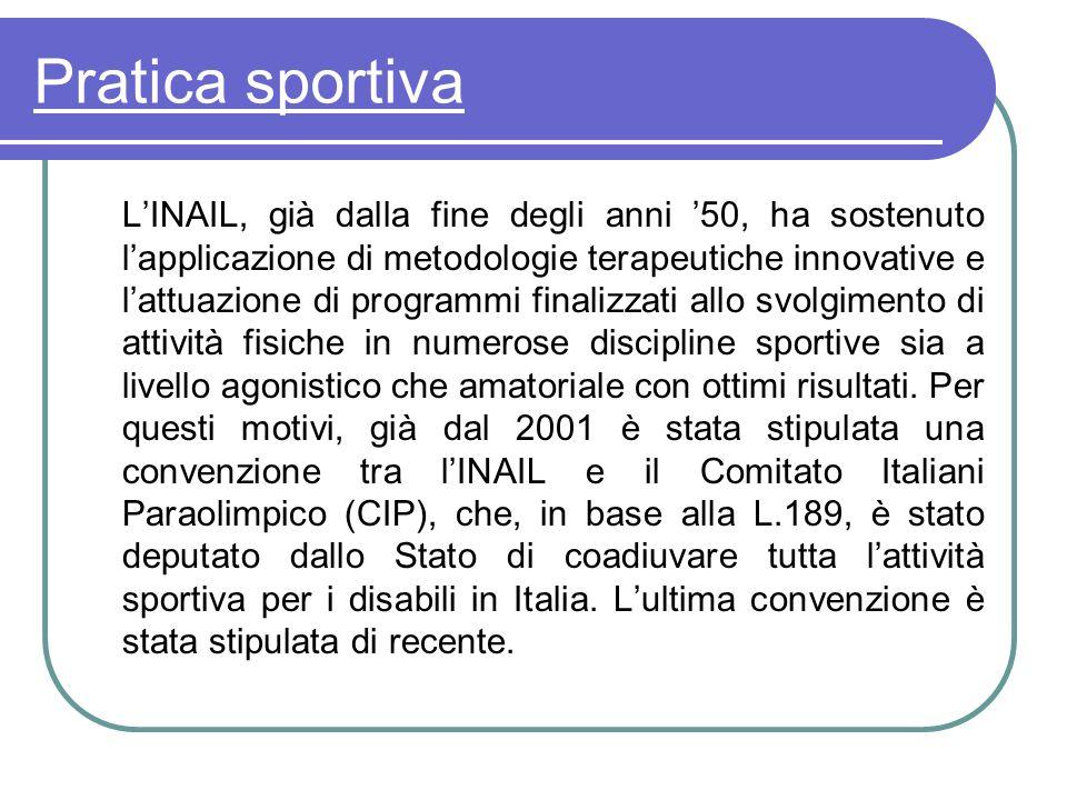 Pratica sportiva LINAIL, già dalla fine degli anni 50, ha sostenuto lapplicazione di metodologie terapeutiche innovative e lattuazione di programmi fi