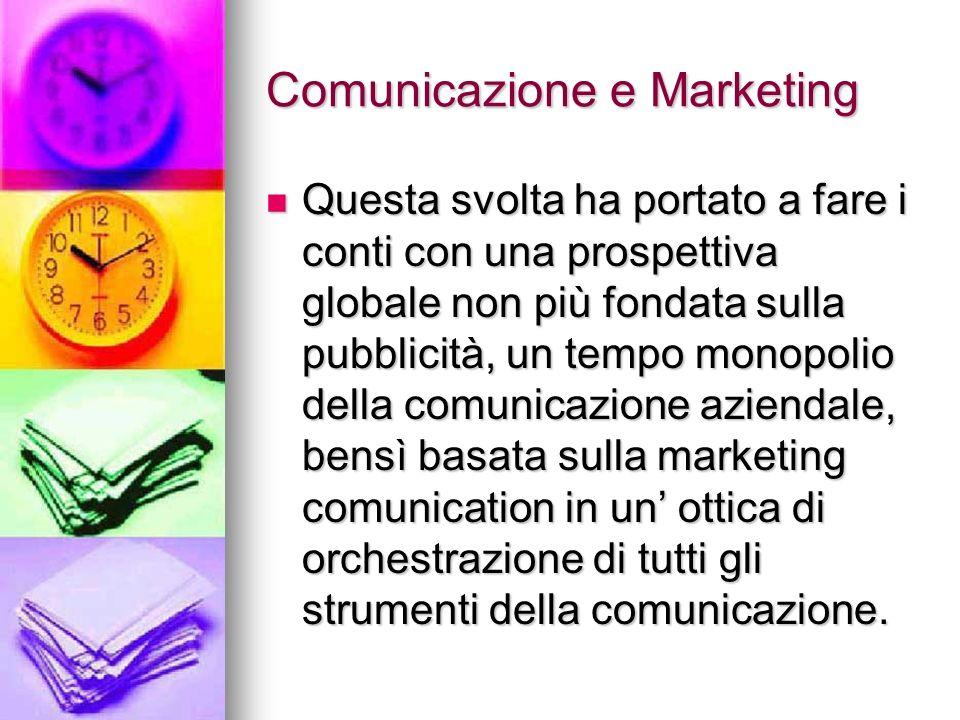 Comunicazione e Marketing Questa svolta ha portato a fare i conti con una prospettiva globale non più fondata sulla pubblicità, un tempo monopolio del