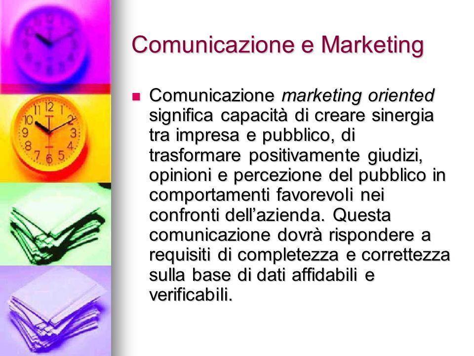 Comunicazione e Marketing Comunicazione marketing oriented significa capacità di creare sinergia tra impresa e pubblico, di trasformare positivamente