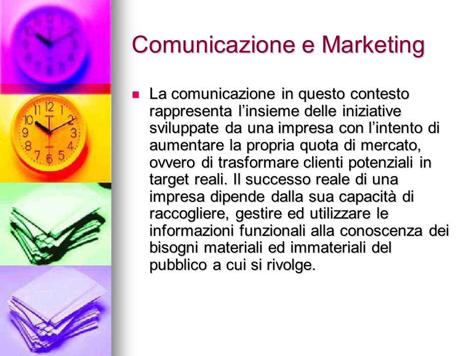 Comunicazione e Marketing La comunicazione in questo contesto rappresenta linsieme delle iniziative sviluppate da una impresa con lintento di aumentar