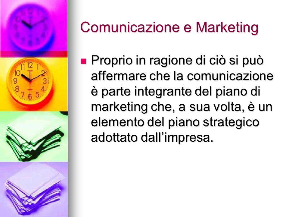 Comunicazione e Marketing Proprio in ragione di ciò si può affermare che la comunicazione è parte integrante del piano di marketing che, a sua volta,