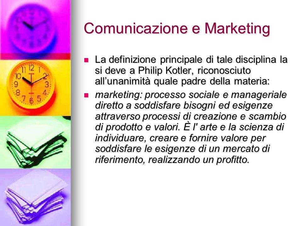 Comunicazione e Marketing La definizione principale di tale disciplina la si deve a Philip Kotler, riconosciuto allunanimità quale padre della materia