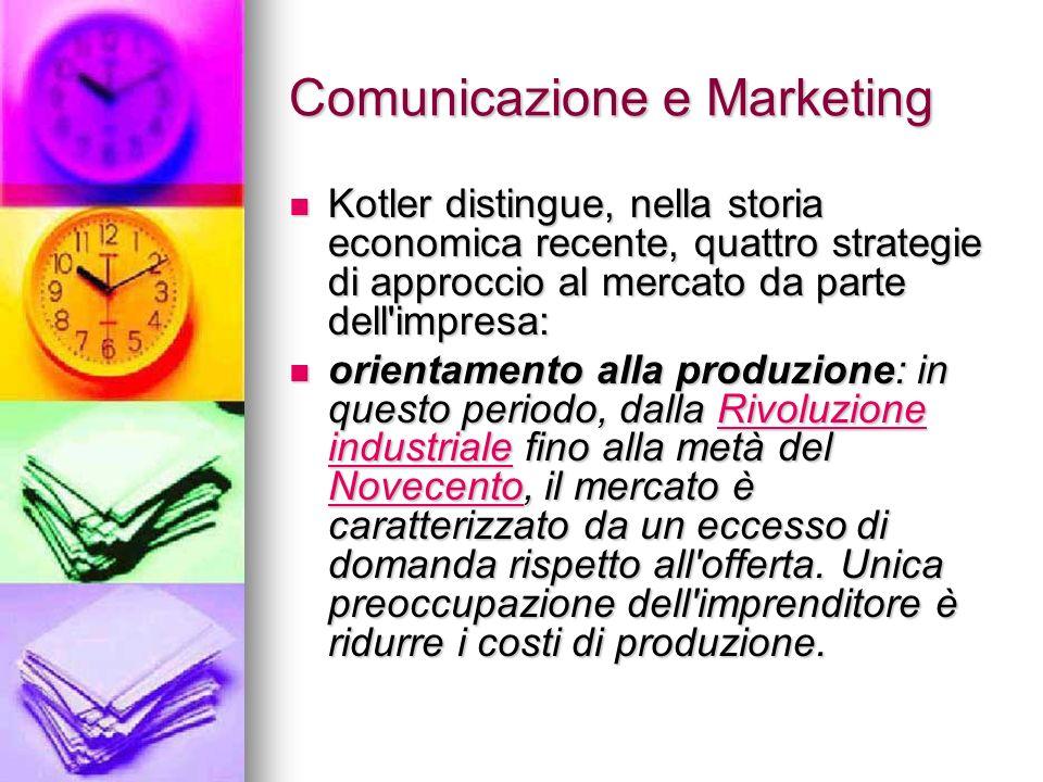 Comunicazione e Marketing Kotler distingue, nella storia economica recente, quattro strategie di approccio al mercato da parte dell'impresa: Kotler di