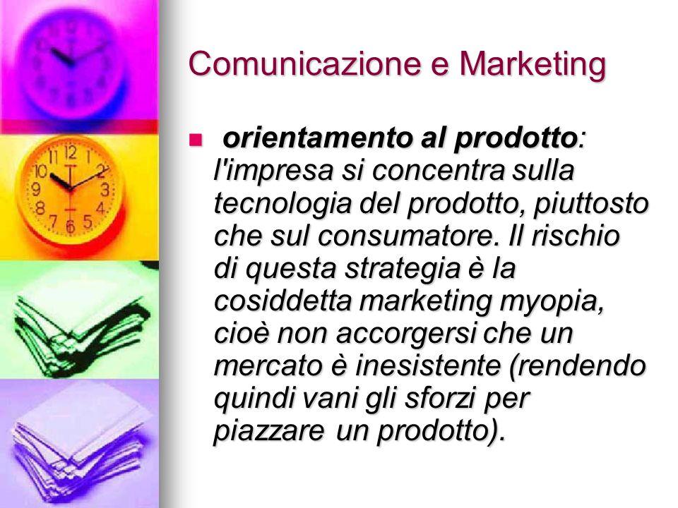 Comunicazione e Marketing orientamento al prodotto: l'impresa si concentra sulla tecnologia del prodotto, piuttosto che sul consumatore. Il rischio di