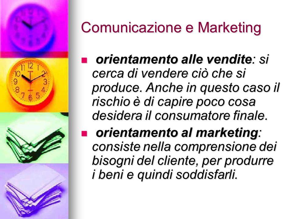 Comunicazione e Marketing orientamento alle vendite: si cerca di vendere ciò che si produce. Anche in questo caso il rischio è di capire poco cosa des