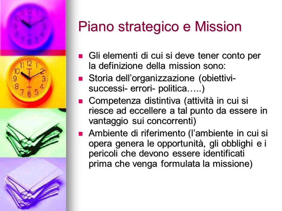 Piano strategico e Mission Gli elementi di cui si deve tener conto per la definizione della mission sono: Gli elementi di cui si deve tener conto per
