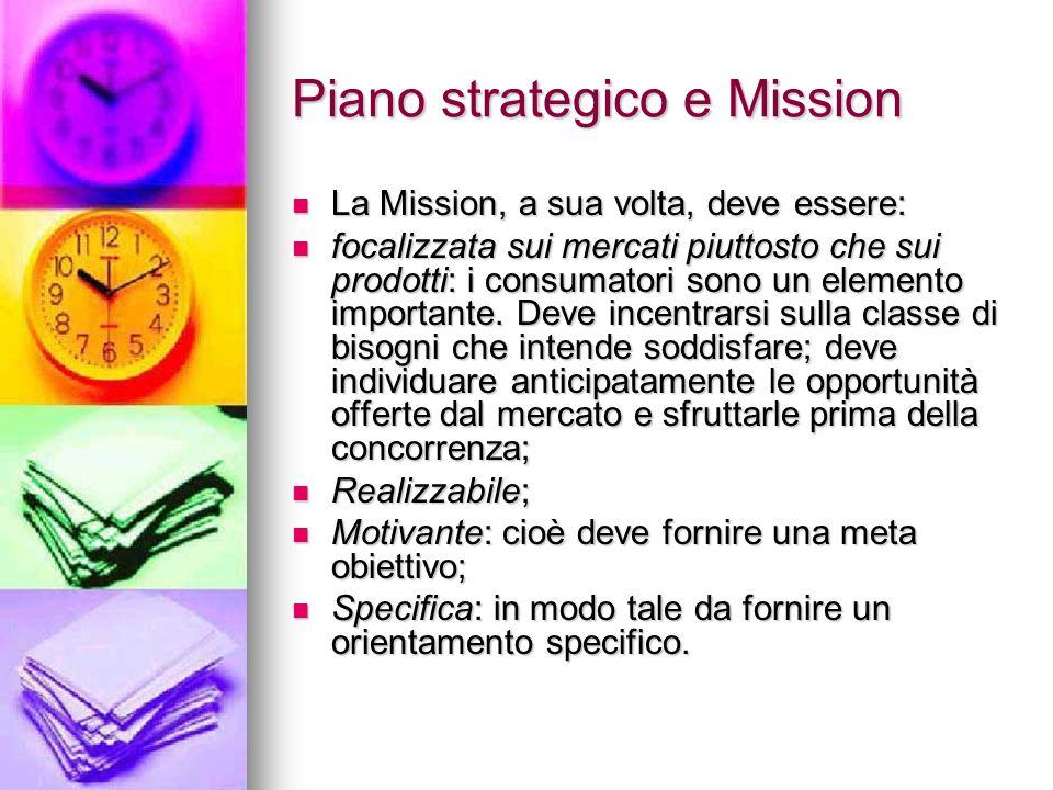 Piano strategico e Mission La Mission, a sua volta, deve essere: La Mission, a sua volta, deve essere: focalizzata sui mercati piuttosto che sui prodo