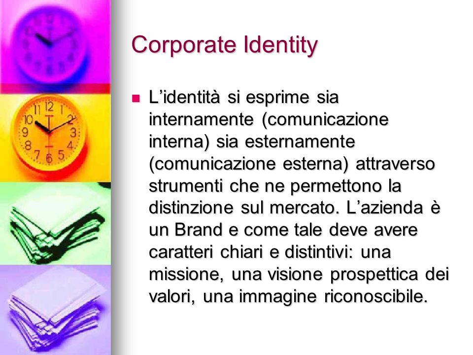 Corporate Identity Lidentità si esprime sia internamente (comunicazione interna) sia esternamente (comunicazione esterna) attraverso strumenti che ne