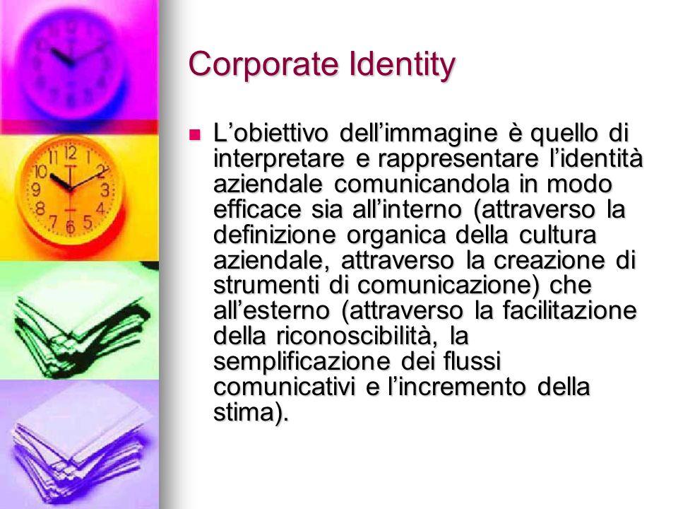 Corporate Identity Lobiettivo dellimmagine è quello di interpretare e rappresentare lidentità aziendale comunicandola in modo efficace sia allinterno
