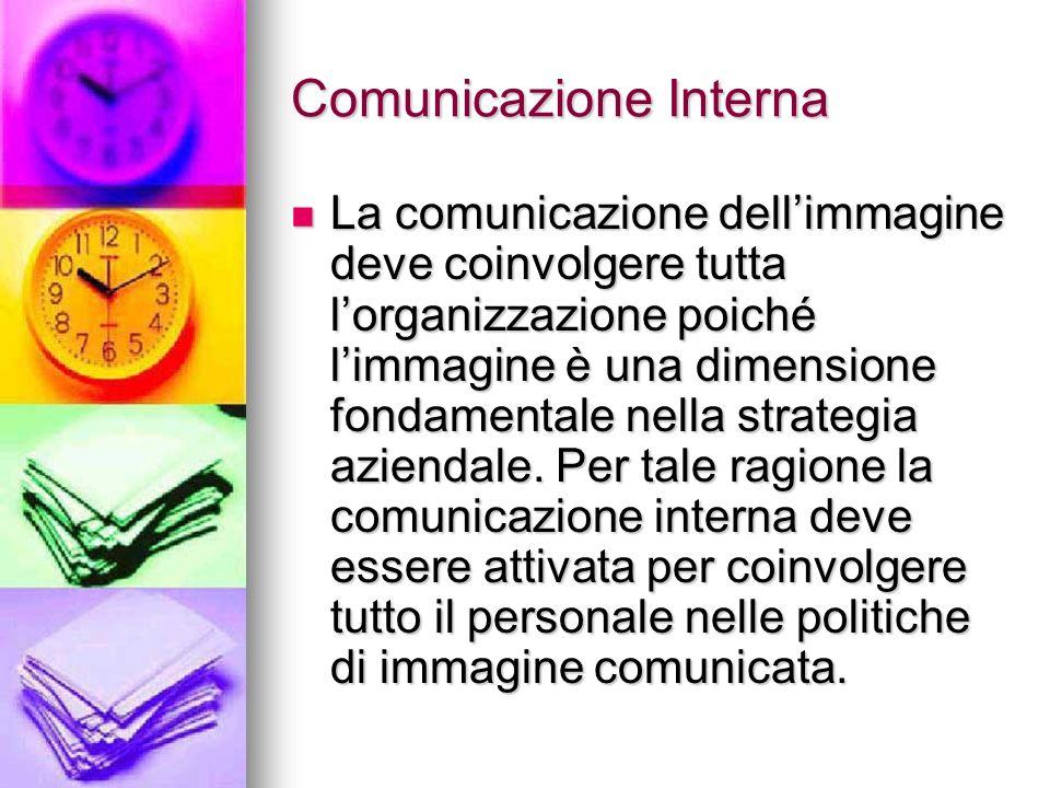 Comunicazione Interna La comunicazione dellimmagine deve coinvolgere tutta lorganizzazione poiché limmagine è una dimensione fondamentale nella strate