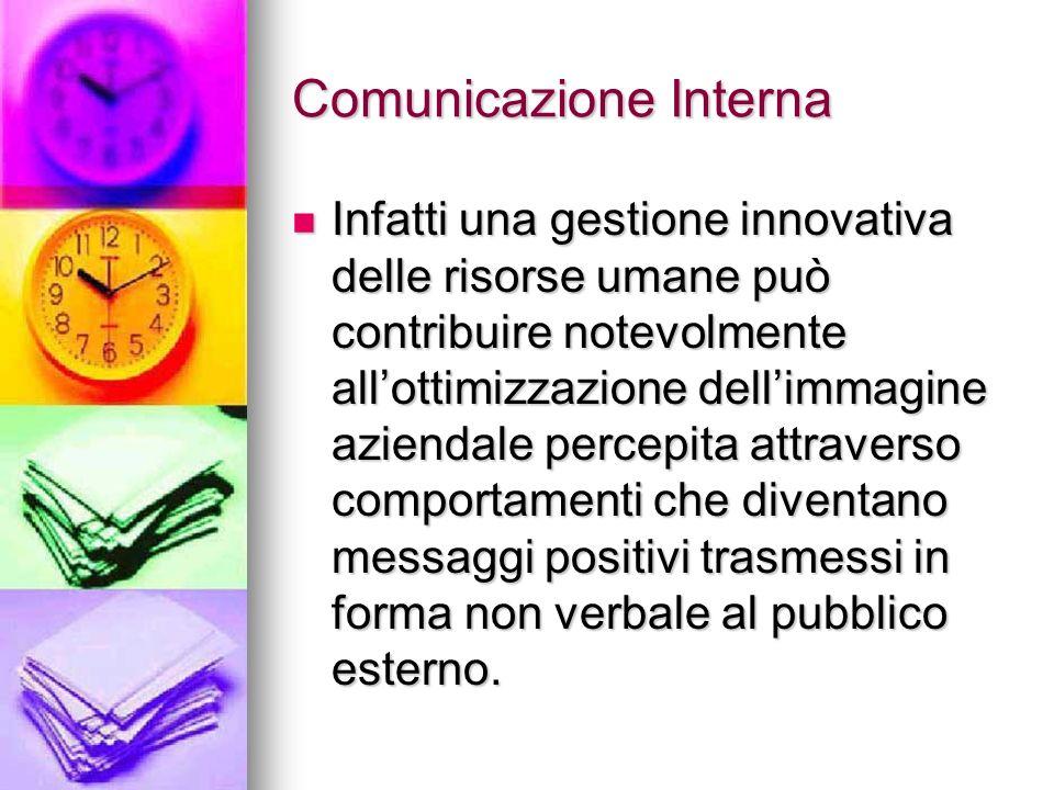 Comunicazione Interna Infatti una gestione innovativa delle risorse umane può contribuire notevolmente allottimizzazione dellimmagine aziendale percep