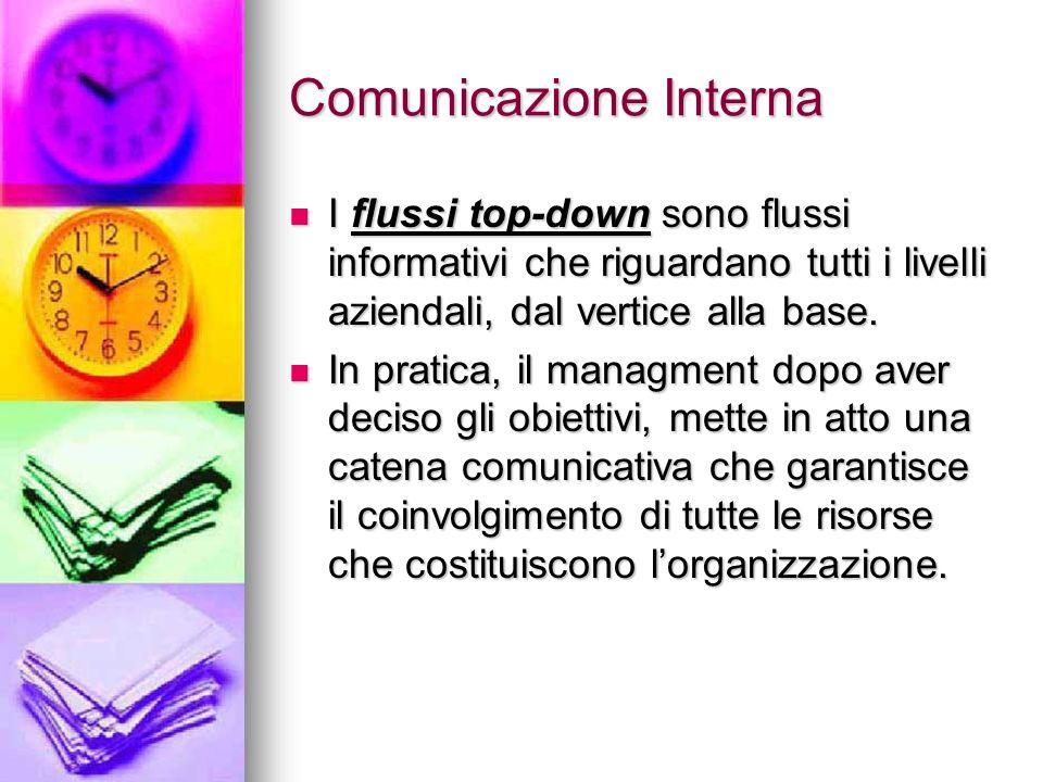 Comunicazione Interna I flussi top-down sono flussi informativi che riguardano tutti i livelli aziendali, dal vertice alla base. I flussi top-down son