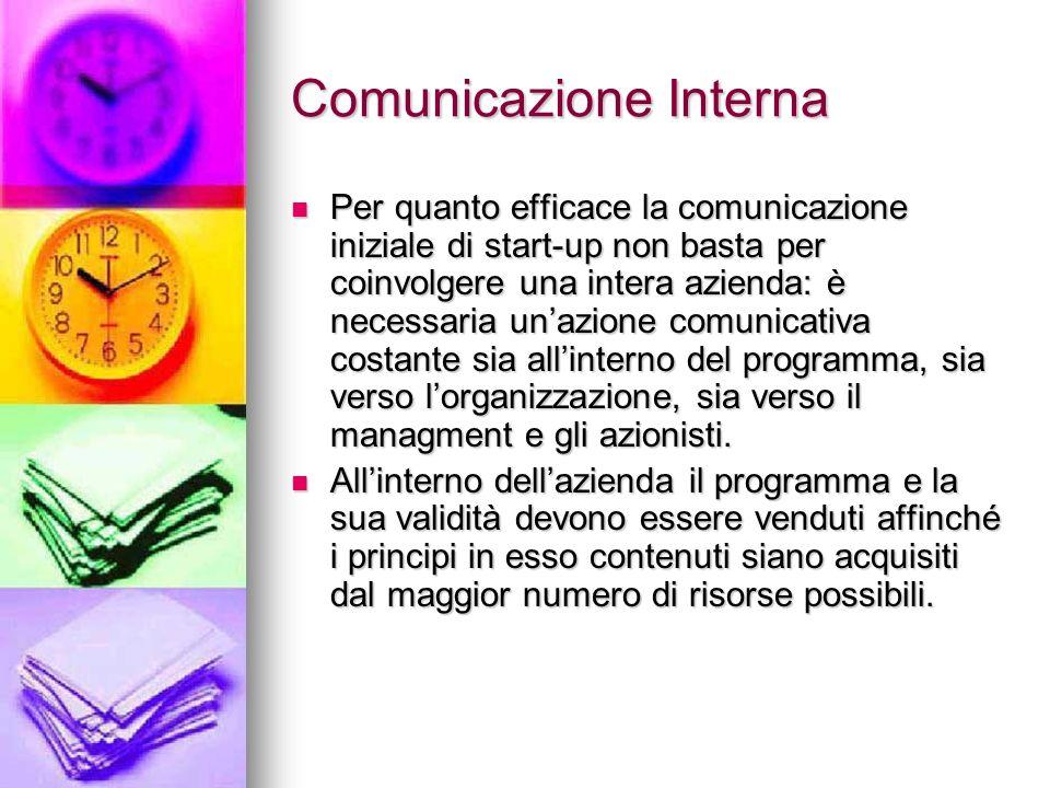 Comunicazione Interna Per quanto efficace la comunicazione iniziale di start-up non basta per coinvolgere una intera azienda: è necessaria unazione co