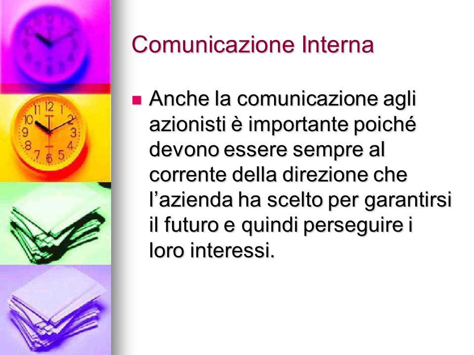 Comunicazione Interna Anche la comunicazione agli azionisti è importante poiché devono essere sempre al corrente della direzione che lazienda ha scelt