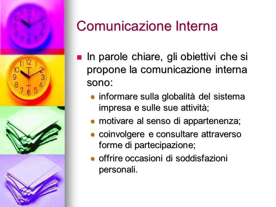 Comunicazione Interna In parole chiare, gli obiettivi che si propone la comunicazione interna sono: In parole chiare, gli obiettivi che si propone la