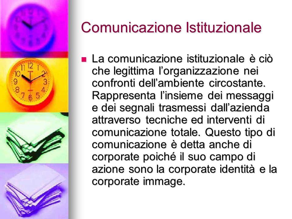Comunicazione Istituzionale La comunicazione istituzionale è ciò che legittima lorganizzazione nei confronti dellambiente circostante. Rappresenta lin
