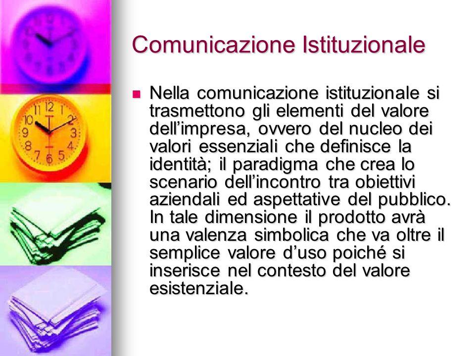 Comunicazione Istituzionale Nella comunicazione istituzionale si trasmettono gli elementi del valore dellimpresa, ovvero del nucleo dei valori essenzi