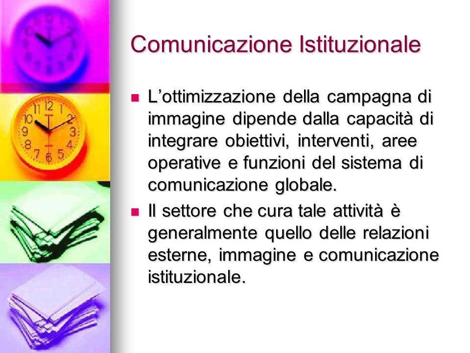Comunicazione Istituzionale Lottimizzazione della campagna di immagine dipende dalla capacità di integrare obiettivi, interventi, aree operative e fun